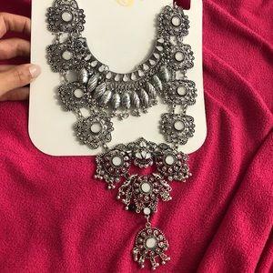 Elaborate stone silver statement necklace
